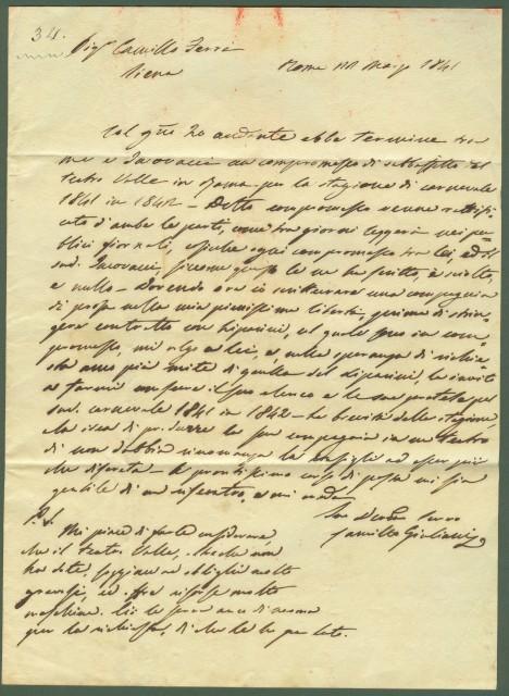 TEATRO. Due lettere da Roma (del 22 e 27 maggio 1841) scritta da Signa al capocomico Camillo Ferri dagli impresari Vincenzo Iacovacci e Camillo Giuliani.