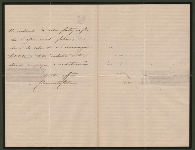 CORTE CLEMENTE GIUSEPPE (Vigone 1826 - Vigone 1895). Lettera da Genova del 21 febbraio 1865 indirizzata all'amico Bonassi