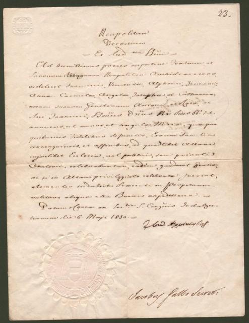 ASQUINI FABIO MARIA (Fogagna 1802 - Roma 1878). Firma autografa su documento dato in Roma, il 6 maggio 1850.