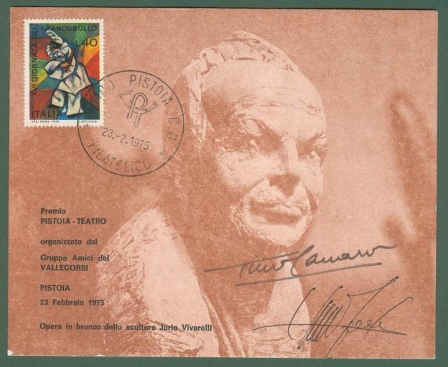 CARRARO TINO (Milano 1910 - Milano 1995). Attore italiano di teatro e cinema. Firma autografa al recto di cartolina numerata edita per il premio Vallecorsi del 1975