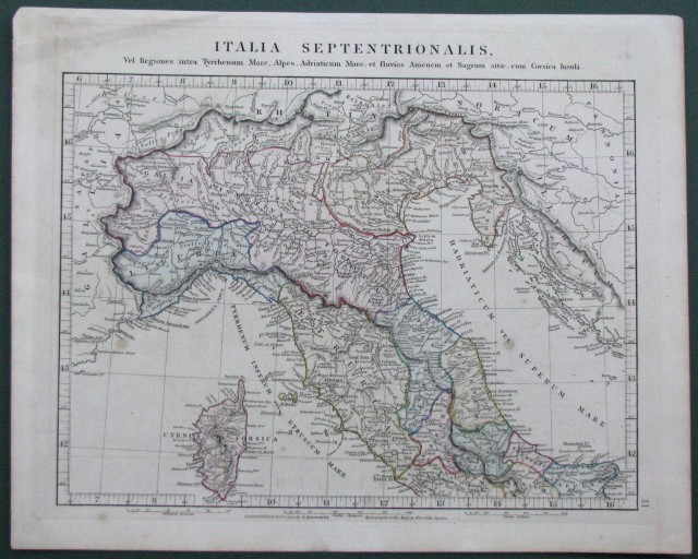 ITALIA. Italia Septentrionalis. Carta geografica colorata all''epoca