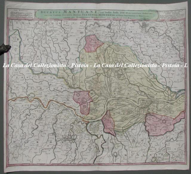LOMBARDIA. Ducatus Mantuani, ceu Sedis belli 1733 - 35 recentissima Delineatio, una cum Confiniis Ducatus Mediol. Parmensis, Modenensis, et Territ. Veronensis et Bresciani.