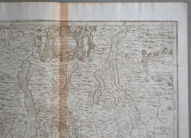 LOMBARDIA. Anno 1650. Parte alpestre dello Stato di Milano. Con il Lago Maggiore, di Lugano e di Como.