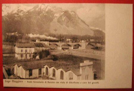 (Novara) Lago Maggiore  - Ponte ferroviario di Baveno con vista di Oltrefiume e cave dei graniti