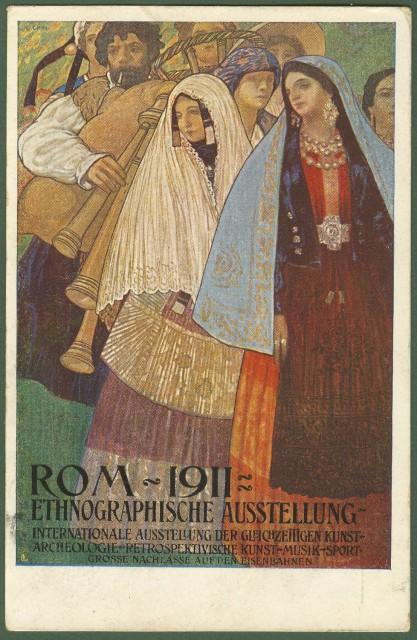 CARTOLINA D'EPOCA di Chini Galileo. Disegno a colori pubblicitario Rom 1911 Ethnographische Austellung.