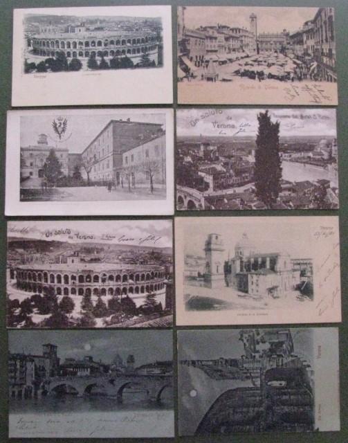 VERONA. Otto cartoline primissimi '900 (cinque viaggiate 1901)