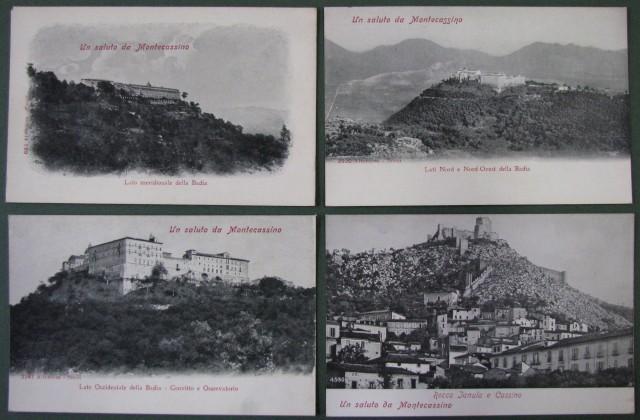 CARTOLINA D'EPOCA - MONTECASSINO (Fr). 4 cartoline d'epoca con vedute diverse.