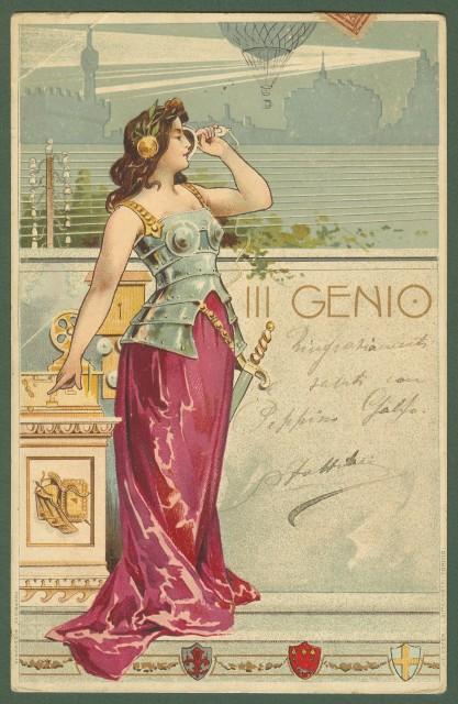 III'° Genio. Bella cartolina reggimentale a colori.