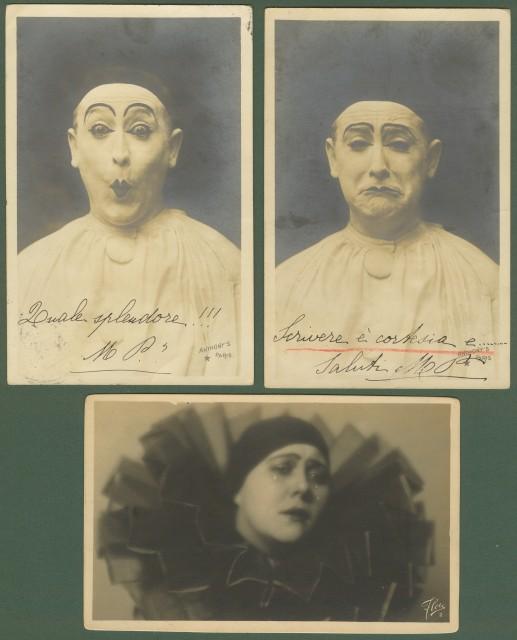 PIERROT. Insieme di 3 cartoline viaggiate 1905 - 1928.
