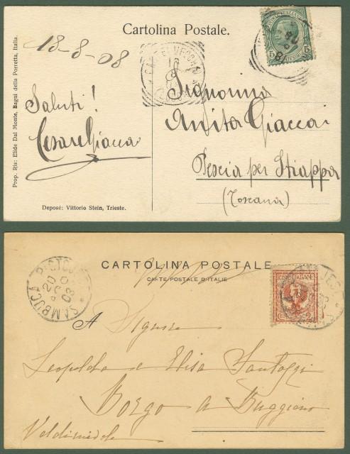 BAGNI DELLA PORRETTA. Due cartoline viaggiate nel 1903 e 1908.