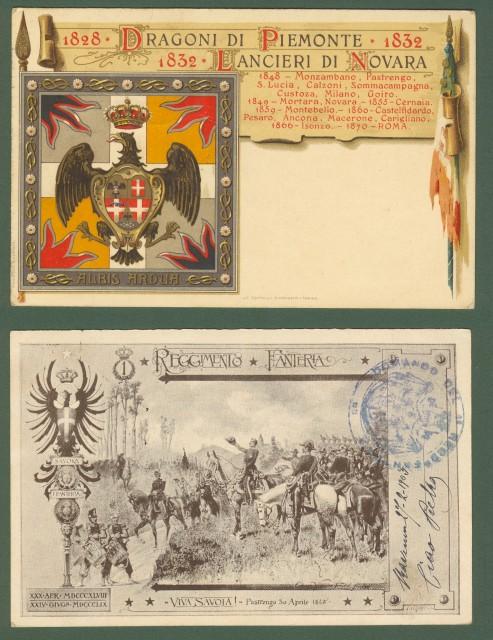 Due cartoline reggimentali. Viaggiate nel 1903 e 1921.