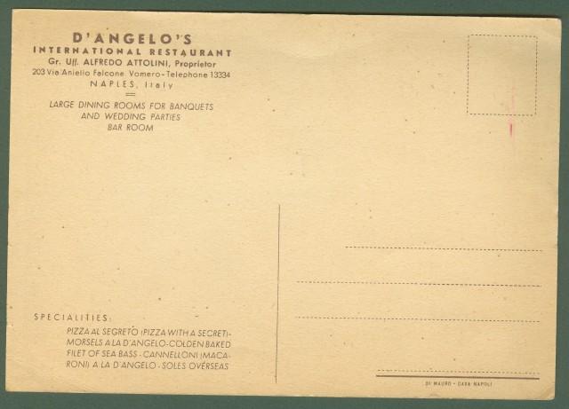 NAPOLI. RISTORANTE D'ANGELO'S. Cartolina pubblicitaria a colori.