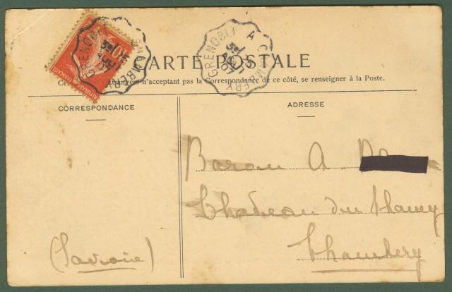 Francia. Savoia. La Rochette. Place des Marroniers. Cartolina d'epoca viaggiata nel 1907.