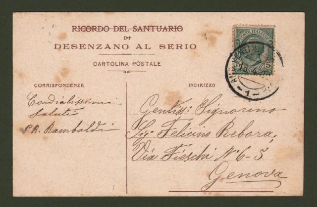 DESENZANO AL SERIO. Bergamo Santuario della B.V. del Miracolo. Cartolina a colori viaggiata nel 1909.