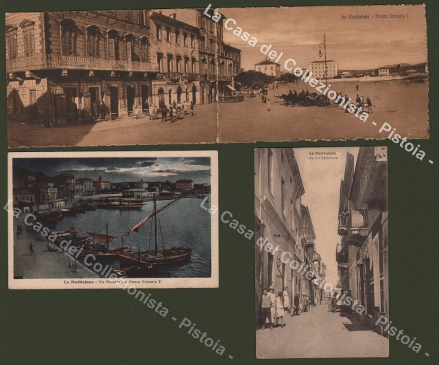 Sardegna - La Maddalena. Insieme di Tre diverse cartoline d'epoca