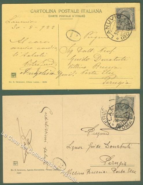 LAZIO. CIVITA LAVINIA-LANUVIO (Roma). Due cartoline viaggiate nel 1922