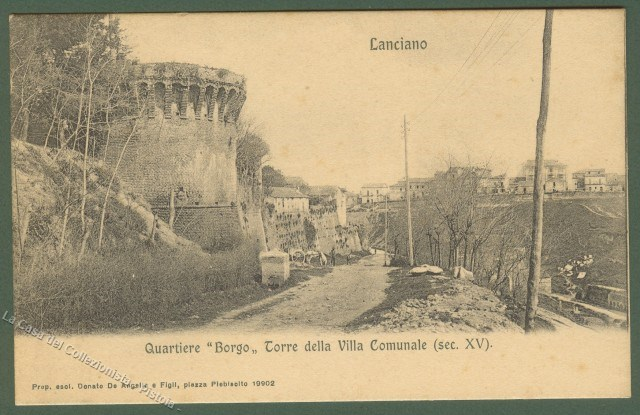ABRUZZO. LANCIANO (Chieti). Torre della Villa Comunale. Cartolina d'epoca, non viaggiata, circa 1910