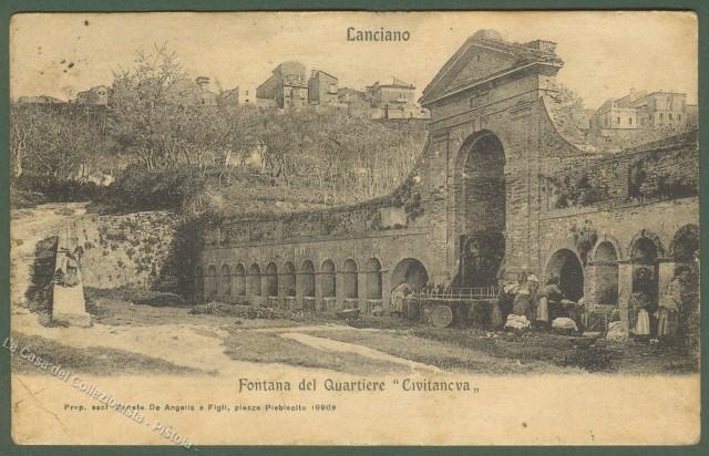 ABRUZZO. LANCIANO (Chieti). Fontana del Quartiere Civitanova. Cartolina d'epoca,  viaggiata nel 1907