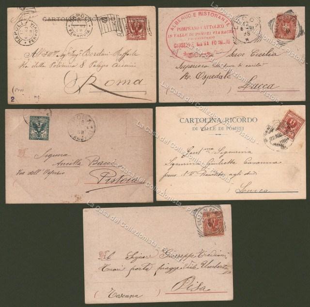 CAMPANIA. VALLE DI POMPEI, Napoli. Cinque cartoline viaggiate nel 1901-1904.