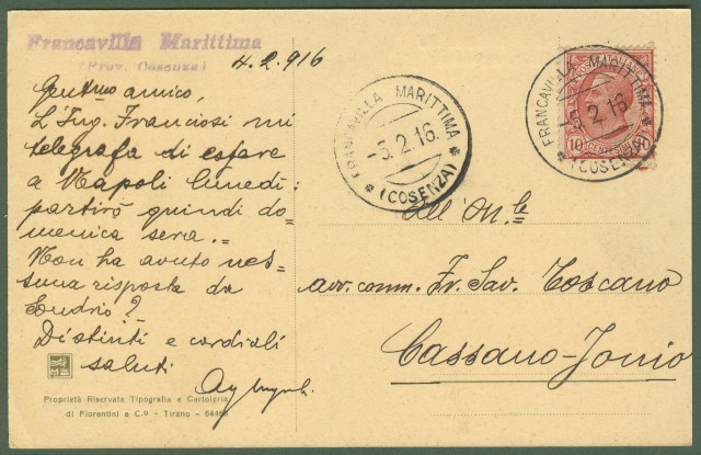 (Calabria - Cosenza) FRANCAVILLA MARITTIMA. Il Cantiere e la Segheria Manzocchi. Cartolina d'epoca viaggiata nel 1916.