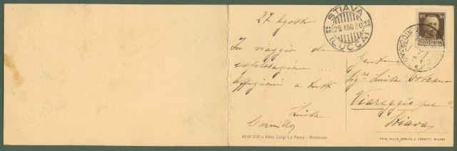(Basilicata - Potenza) MOLITERNO. Panorama. Cartolina d'epoca doppia viaggiata nel 1930.