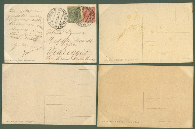 MONTEPULCIANO, Siena. Quattro cartoline d'epoca
