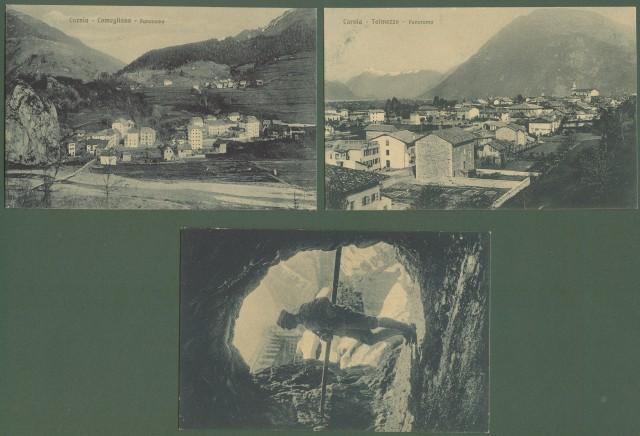 CARNIA, Udine. Tre cartoline d'epoca non viaggiate, circa 1920: Coneglians, Tolmezzo,Galleria del passo della Morte