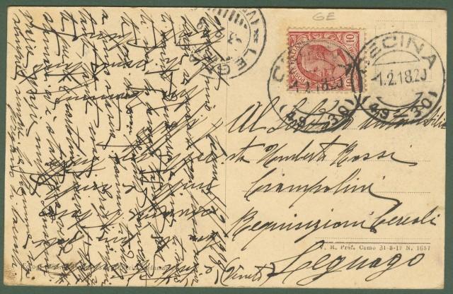 BORZOLI, panorama (Genova). Cartolina d'epoca viaggiata nel 1918.