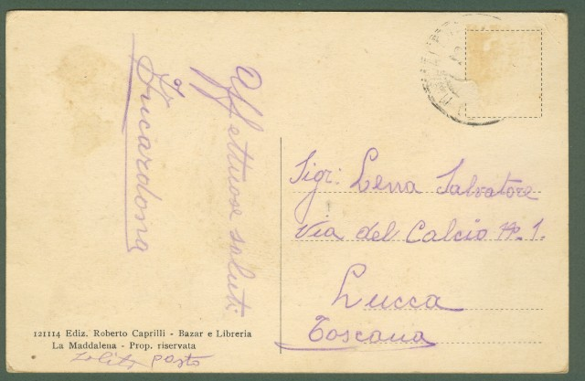 LA MADDALENA (Olbia - Sardegna). Piazza Umberto I. Cartolina d'epoca viaggiata (circa 1930),