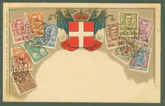 CARTOLINA A RILIEVO raffigurante i francobolli delle serie Floreale