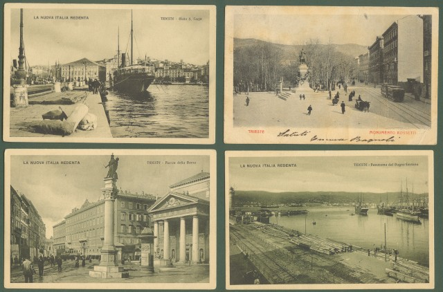 TRIESTE. Quattro cartoline di cui tre non viaggiate, anni 1930 e una viaggiata inizio 1900