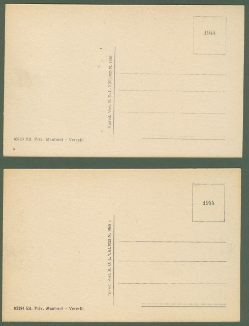 VERCELLI. Due cartoline d'epoca non viaggiate, circa 1930