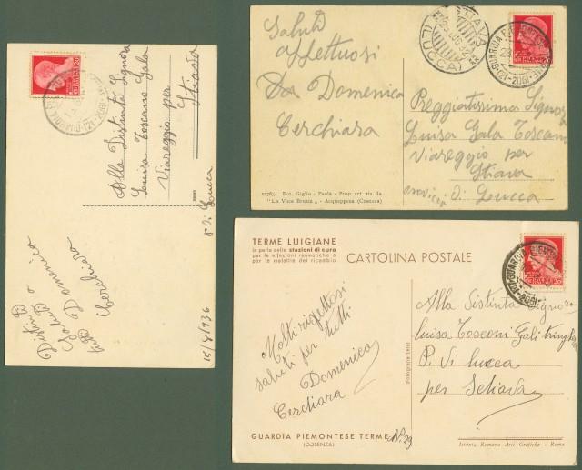 TERME LUIGIANE, Cosenza. Tre cartoline d'epoca viaggiate 1932, 1935, 1936
