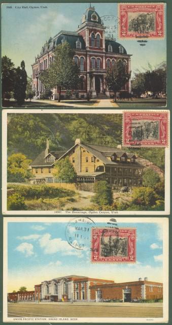 U.S.A. Tre cartoline illustrate del 1929 per l'Italia.