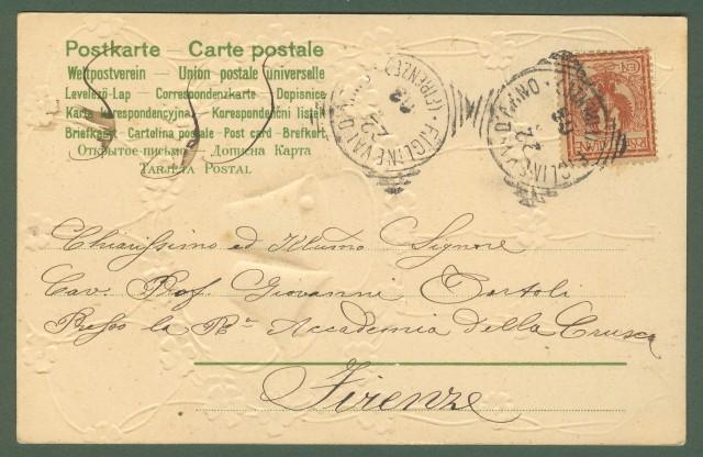 Cartolina calendario dell'anno 1904. A colori e a rilievo. Viaggiata nel 1903.