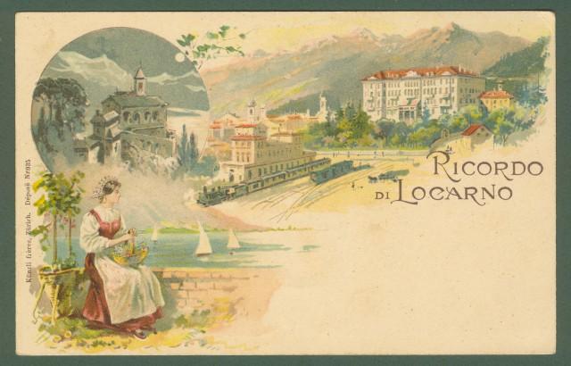 SVIZZERA. Ricordo di Locarno. Cartolina d'epoca inizio '900