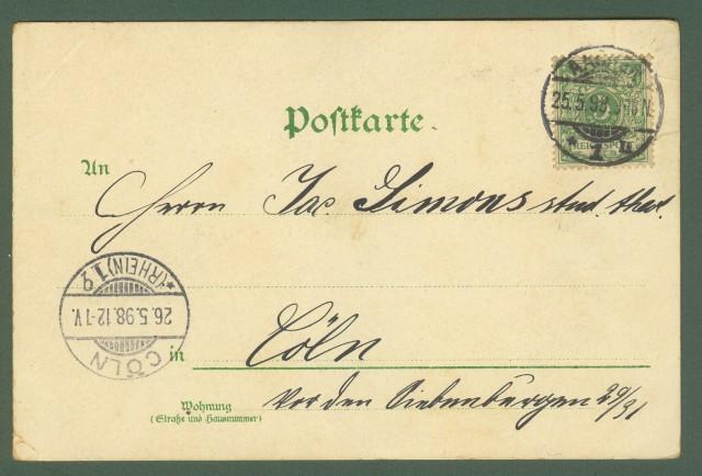 GERMANIA. Gruss aus Aachen. Cartolina d'epoca viaggiata nel 1898