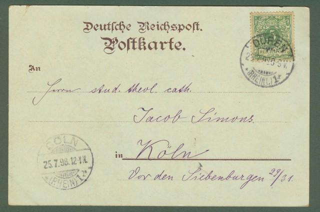 GERMANIA. Gruss aus Duren. Cartolina d'epoca viaggiata nel 1898