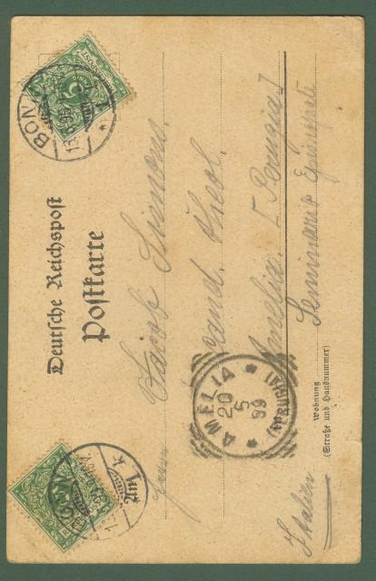 GERMANIA. Gruss aus Bonn. Cartolina d'epoca viaggiata nel 1899