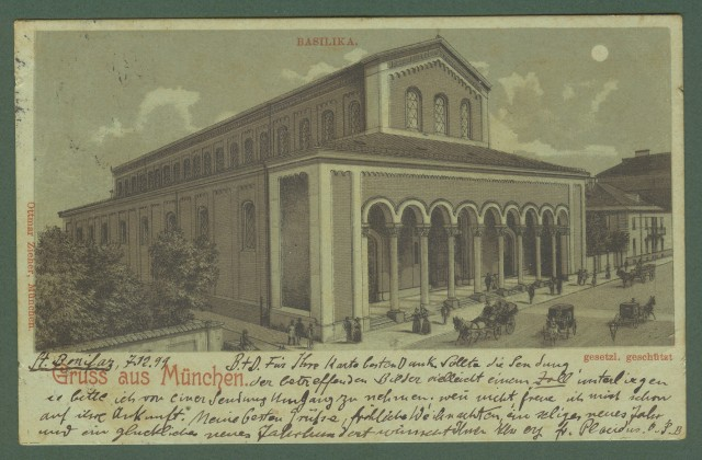 GERMANIA. Gruss aus Munchen. Cartolina d'epoca viaggiata nel 1899