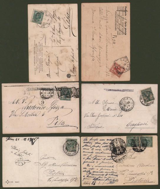 CANI. 6 cartoline d'epoca viaggiate tra il 1906 ed il 1916.