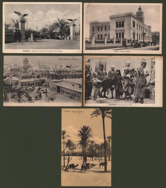 LIBIA. 5 cartoline viaggiate tra il 1912 ed il 1940 (una dalla posta militare 402).
