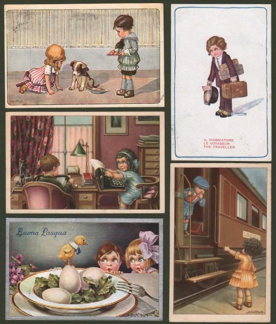 BERTIGLIA. 5 cartoline viaggiate tra il 1921 e il 1947.