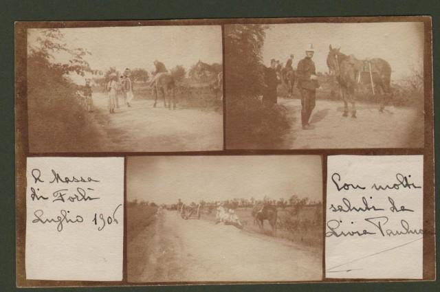 FORLI'. Massa di Forlì. Cartolina fotografica con tre immagini. Spedita nel 1906.