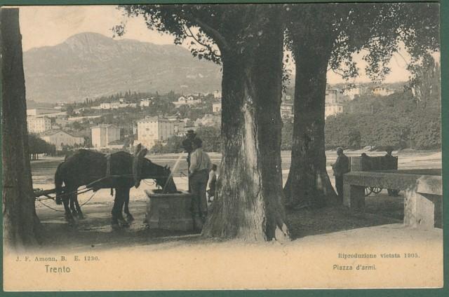 TRENTO. Piazza d'armi. Cartolina d'epoca viaggiata nel 1904