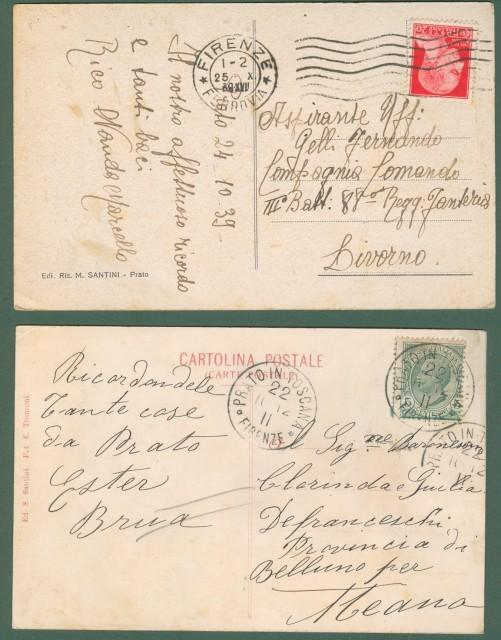 PRATO. Due cartoline d'epoca viaggiate nel 1912 e nel 1939