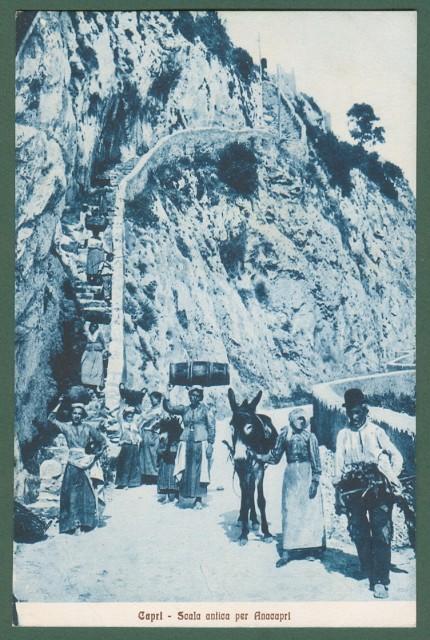 CAPRI, Campania. Scala antica per Anacapri. Animatissima.
