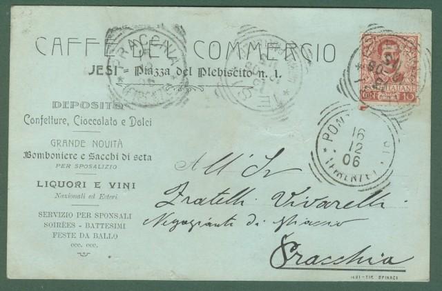 JESI. Caffਠdel Commercio. Cartolina d'epoca commerciale viaggiata nel 1906