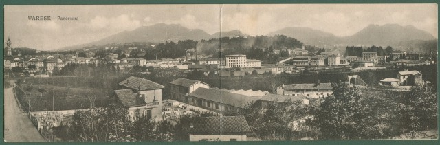 VARESE. Panorama. Cartolina d'epoca doppia viaggiata nel 1917.