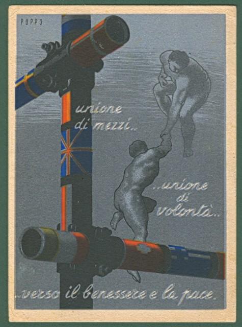 PUPPO. Unione di mezzi...unione di volontà...verso il benessere e la pace. Cartolina d'epoca disegnata a colori, viaggiata nel 1953